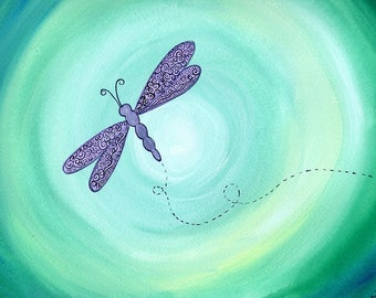 Purple Dragonfly on Turquoise background - ORIGINAL mixed media painting on paper