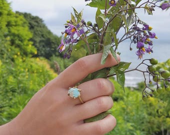 Raw Turquoise Ring Natural Stone Ring Natural Stone Jewelry Natural Turquoise  Brass Ring Jewelry Turquoise Nugget Ring December Birthstone