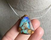 Boulder Opal Pendant, Australian Boulder Opal Necklace, Sterling Silver Jewelry, Opal Jewelry, Boho Style