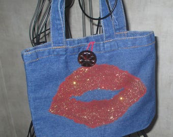 Wearable Art bag denim hand painted big red lips bo ho tote