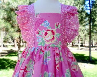 Girls Pink Dress, Pink and Yellow Roses Dress, Toddler Pink Floral Dress, Special Ocassion Dress, Birthday, Party Dress