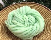 Handspun mint yarn, 55 yards thick and thin in hand dyed merino wool - 3.5 ounces/ 100 grams