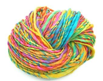 Handspun merino rainbow yarn, bulky weight  - 68 yards, 1.8 ounces and 50 grams