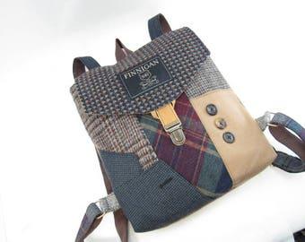 Backpack Recycled Backpack bag, Mens Backpack Womens backpack Soft sided Bag Recycled Mens Suit Coat Bag Travel Bag Ready to Ship