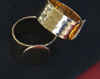 Ring Bases Blanks 2 ADJUSTABLE 24kt GOLD plated 12/13mm pad or 20mm Hidden adjustment Sm to 11.5 sizing Quality Hammered pattern