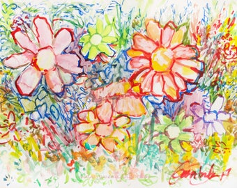 Abstract Floral Garden Original Watercolour, Acrylic, Watercolour paper Red Yellow Blue Green Purple Flowers