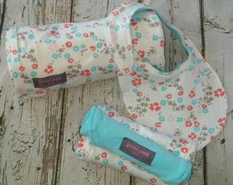 Organic Baby Blanket GIFT SET, Pink Baby Blanket Gift Set, Baby Shower Gift, Floral Baby Gift Set, New Baby Gift Set, Organic Swaddle Set
