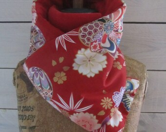 "Scarf blanket quilted fabric Japanese ""kiku"" red, red organic hemp jersey"