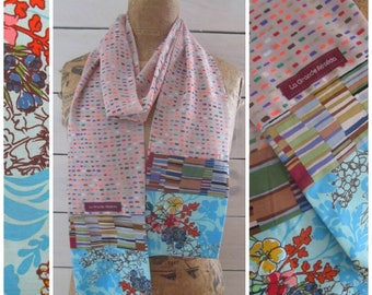 "Scarf in multicolored sail and Japanese fabrics ""foliage"" turquoise"