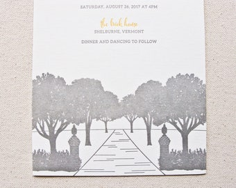 The Brick House Wedding Invitation, Letterpress printed SAMPLE