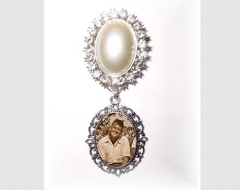 Memorial Photo Brooch Grace and Charm Antiqued Silver Crystals Pearls - FREE SHIPPING