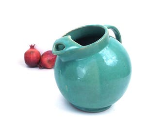 vintage 30s round ball brush mccoy pitcher seafoam green earthenware pottery unmarked kitchen decorative home decor art deco modern retro