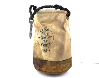 klein tools. lineman's bag. vintage tool bag. electricians tool bag. canvas bucket. canvas bag. leather bag. klein tools bag. 5104-S work