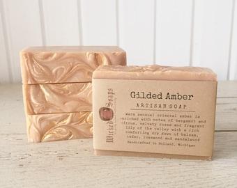 Gilded Amber Artisan Soap - Handmade Soap, Shea Butter Soap, Silk Soap