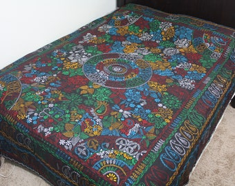 South Asian Folk Art Handmade Needlepoint Cotton Quilt Nakshi Kantha