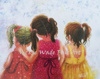 Three Sisters Art Print, blonde, brunette, redhead, three girls, three daughters, childrens art, love, mother's day gift, Vickie Wade art