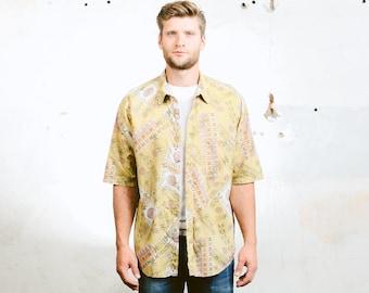 Men Summer Shirt . Vintage 90s Pattern Shirt Aztec Abstract Print Shirt Button Down Short Sleeve Shirt . size Extra Large