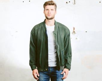 Men's Green BOMBER Jacket . Oversized Vintage 90s Jacket Zip Up 80s Flight Jacket Garage Jacket Outerwear . size Extra Large