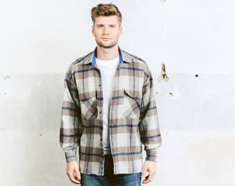 Vintage Plaid Wool Shirt . Mens 80s Jacket Grey Brown Work Shirt Wool Jacket Lumberjack Boyfriend Gift . size Medium