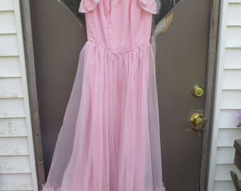 70s  vintage pink victorian style pink chiffon nylon long ruffled skirt  gown /dress embroidery sequins sheer top   sz  5