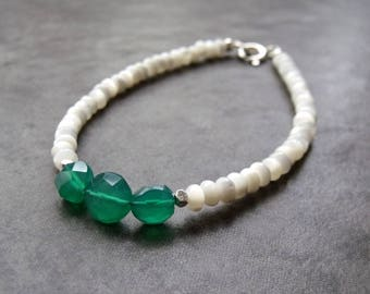 Natural Green Onyx and White Mother of Pearl Shell Rondelles Sterling Silver Stacking Bracelet