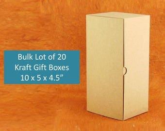 "20x  Bulk Kraft Gift Boxes 10"" x 5"" x 4"" Natural Brown Rustic Gift Boxes for Champagne Flutes, Beer Glasses, Gloves, Socks, Vase Gift Box"