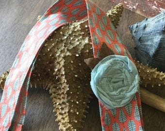 Headwrap Headband // Coral with Light Blue Leaves and Light BlueFabric Rose // Fabric Headband