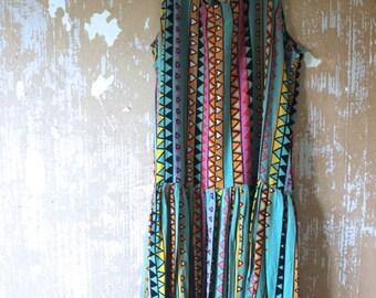SUMMER SALE vintage.  Green Tribal Print Flowy Tank Dress // Bohemian Freespirit // Free Size