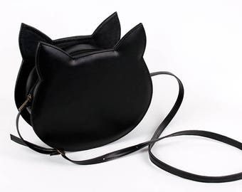 Sale before 45usd black faux leather cat bag
