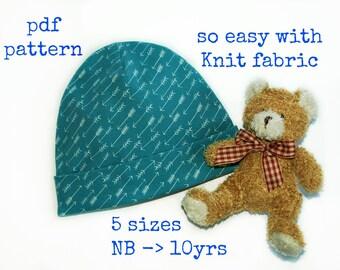 Baby hat pattern, Kids hat sewing pattern, Hat sewing pattern, Jersey knit hat pattern (S131), Knit fabric hat pattern,  pdf sewing pattern