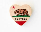 "California Bear State Flag - 2"" Mini Heart Magnet Handmade Photo Transfer on Wood"