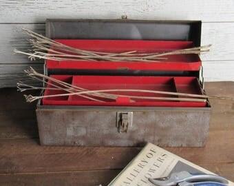 Vintage metal box - natural rust - tool chest - home decor - craft room - wedding decor