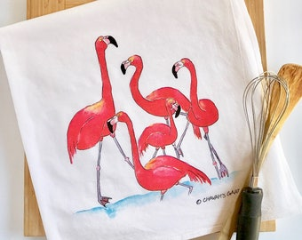 Flamingo Tea Towel, Flour sack dish towel