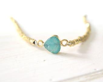 Druzy Bracelet, Gold Druzy Bracelet, Green Druzy, Stone Bracelet, Boho Bracelet, Gemstone Bracelet, Mineral Bracelet, Druzy Jewelry, Green