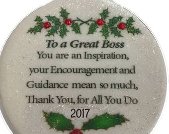 Great Boss 2017 Porcelain Ornament Gift Boxed Rhinestone accent Christmas