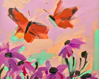 Monarch Butterflies and Coneflowers Original Oil Painting by Angela Moulton pre-order