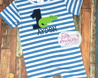 Alligator Birthday Romper, Boys Birthday Romper, Alligator Birthday Romper, Alligator Birthday Shirt