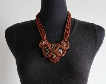 FREE US SHIPPING - The Hearts Statement Necklace Spice Brown Chestnut Color Fiber Crochet Bib Style Necklace with Metal Hearts Pendants