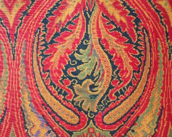 """Vintage Paisley Inspired Fabric, J. Manes Co. Inc., """"Documentary"""" Pattern, 36 in. wide x 4.5 yards"""