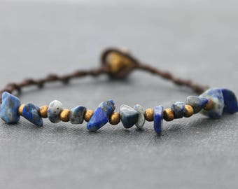 Bead Weaving Bracelets Lapis Simple Dainty Stone