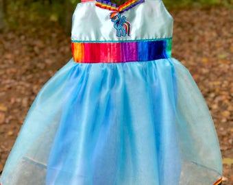 Rainbow Tutu Dress: colorful dress, Birthday Party, Halloween costume, Twirly dress, costume, rainbow birthday, rainbow costume, blue tulle