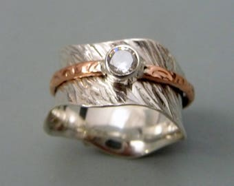 spinner rings, Fidget Ring, worry ring, meditation ring, mixed metal ring, one of a kind rings, Fidget Spinner Ring, Copper Jewelry,