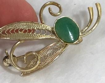 Art Nouveau Gold Tone Jade Brooch