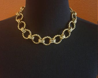 Vintage Statement Gold Chain Link Necklace
