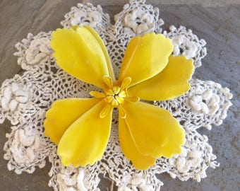 Vintage Large Yellow Enamel Flower Brooch. All Yellow, Solid Yellow, Busy Bee Yellow Flower Brooch