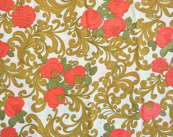 Retro flower power table cloth. Swirls, roses, zinnias, funky tablecloth, orange tablecloth, mustard tablecloth, olive tablecloth, garden