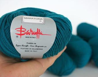 Merino woolyarn by Maratona brand, Baruffa Merino wool, pure wool, luxurious Italian wool, teal yarn, dark turquoise yarn, ten skeins, 500 g