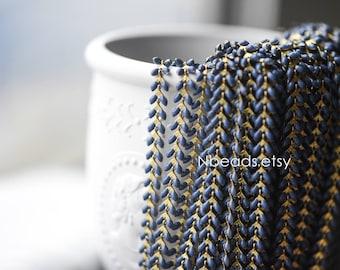 Navy Blue Enamel Brass Arrow Chain 6mm, Flat Chevron Designer Chain, Herringbone Fish bone Chain (#RB-048-5)/ 1 Meter=3.3ft