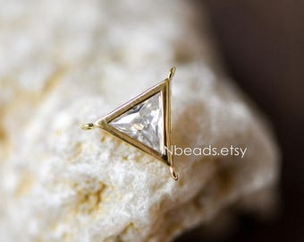 10pcs Gold plated Brass Triangle Charms Connectors 12mm with Rhinestone Inside  (GB-122)
