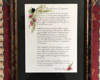 Custom order/anniversary/calligraphy/made to order/lovebirds/wedding